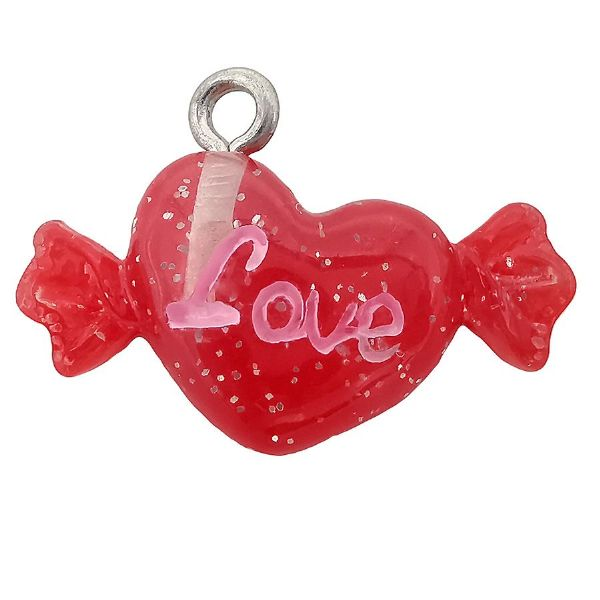 Acrylic Red & Glitter Sweet Heart Charm